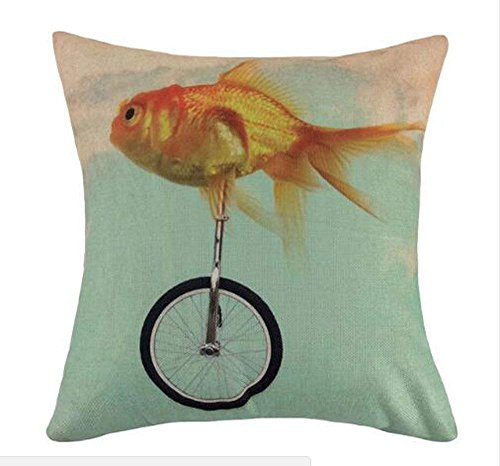 hat pillow Marine Animals Riding a Pulley and Funny Little Goldfish Cotton Linen Square Decorative Throw Case Cushion Cover 18inchs (Pillow Sex Hug)