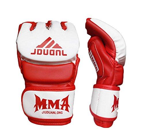 Kämpfen Halbfingerhandschuhe -UFC Boxhandschuhe - Handschuhe MMA 2 --Weißes Red