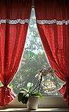 Landhaus Gardinen SET 2 St + 2 Bindebänder rot-weiß kariert mit Spitze 120x80cm/Gesamt 160cm breit 100% Baumwolle Tina