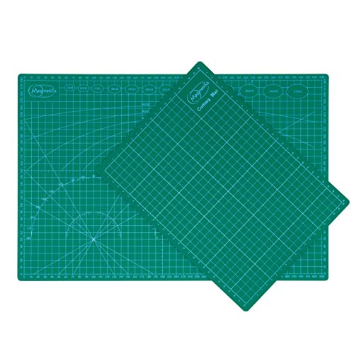 Quadrat Papier Schatten (Magnetiks DOPPELTER MEHRWEHRT Schneidematte DIN A3 und DIN A4 im 2er Set Schneideunterlage - selbstheilend doppelseitig grün)