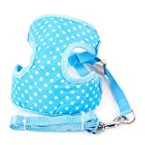 WEATLY Hundegeschirr Blei Bund Pet Supplies Kleiner Hund Medium Dog Polka Dot Muster Weiches Licht Körper Brustprotektor Pflege Walking Exercise Durable Abschleppösen (Color : Blue, Size : M)