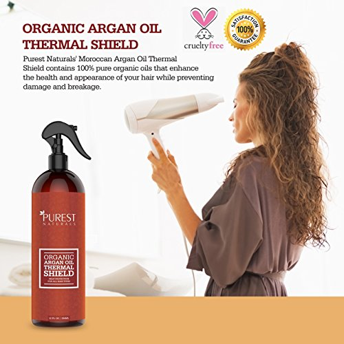 Image of Purest Naturals Organic Argan Oil Hair Protector Spray - Protects & Heals Hair From Heat, Flat Iron, Blow Dryer - Best Thermal Shield - Shampoo & Conditoner - Use For Dry, Damaged & Color Protectant