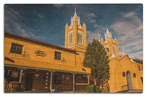 Lantern Press A-90691 San Felipe Neri-Kirche in der Altstadt, Albuquerque, New Mexiko 10 x 15 Wood Sign Multi - Verzauberung Holz