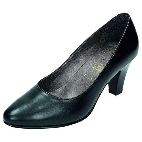 DocComfort escarpins femme doublure confortable en cuir, cuir, lederfußbett, paragraphe 60 mm Noir - schwarz Weite G