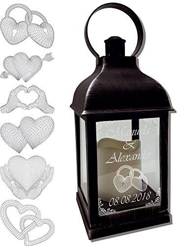 Udig.de Mini Laterne mit LED Kerze schwarz Mod. 2 mit Text und 3D Motiv-Gravur 24x10x10 cm