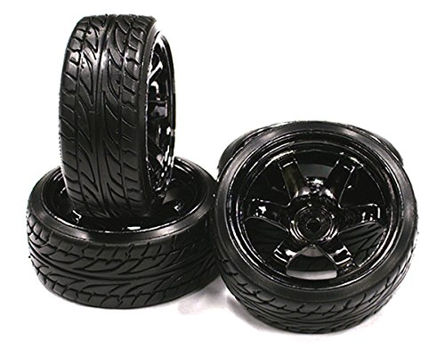 INTEGY RC Model Hop-ups c23463 Type XI Complete Wheel & Tire Set (4) for Drift Racing