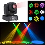 Lixada 25W DMX-512 Mini Moving Head Light RGBW LED Stage PAR Light with Shapes Automatic Professional 9/11 Channel Party Disco Show AC 100-240V Sound Active