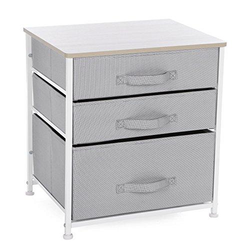 Songmics Mesita de noche Armario para almacenamiento Estantería con 3 cajones Estructura de metal Mesilla Gris y Blanco LTS03W