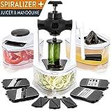 Spiralschneider Mandoline Gemüsehobel Julienneschneider - inkl. Entsafter (9 in 1) & Auffangbehälter - Multischneider-Set für Gemüsespaghetti & Endlosspiralen - der beste Multischneider für Gemüse