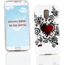 Kit Me Out ES ® Funda de gel TPU para Samsung Galaxy S5 MINI - Blanco / Rojo / Negro Tatuaje de corazón