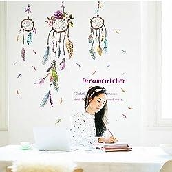 Zooarts Creative Colorful pluma de la suerte Campanula adhesivo de pared DIY Home Decor