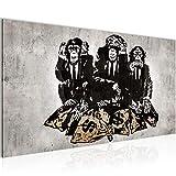Bilder Banksy Street Art Affen Geldsäcke Wandbild Vlies - Leinwand Bild XXL Format Wandbilder Wohnzimmer Wohnung Deko Kunstdrucke Braun 1 Teilig - MADE IN GERMANY - Fertig zum Aufhängen 303412b