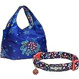 Blueberry Pet Hundehalsband, 12 Muster, Blumenmuster, Passende Leine und Geschirr separat erhältlich, Small Collar + Shopping Bag, Garden Floral - Navy Blue