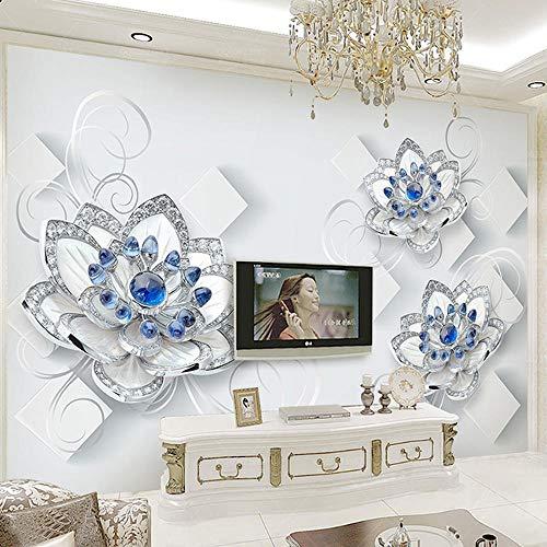 Fototapete 3D Geprägte Blaue Blumen Perlen Und Juwelen Wandbilder Wohnzimmer Schlafzimmer Umweltfreundliche Wohnkultur 250 * 175Cm