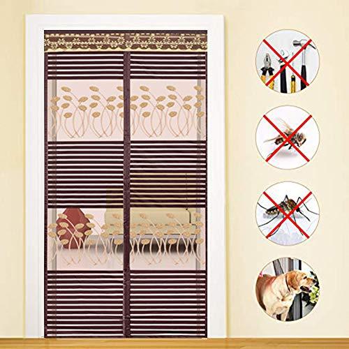 Guyun muto zanzariera magnetica per porte zanzariera magnetica, nastro magicofotogramma intero magnetic insect door screen sipario per porte rete tenda zanzariera magneti,brown,120x240cm