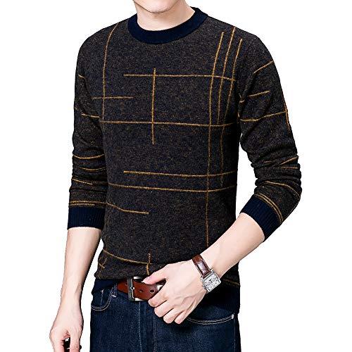 BQSWYD Männer Casual Slim Fit Langarm-Pullover Pullover Winter-Herren Strick Jersey Gestreifte Pullover Herrenstrickwaren Kleidung taillierten Männer-Pullover,Gelb,M