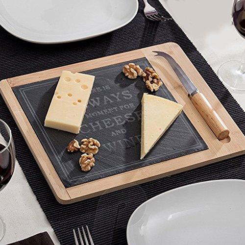 Bakaji tagliere vassoio per formaggi in legno bambu e ardesia con coltello formaggio dimensione 30 x 24 cm colore nero e bamboo naturale