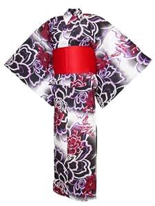 Kimono japonais traditionnel Yukata fleurs rouges y198