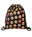 Miyaia Emoji Prints Women Girls Drawstring Backpack Shoulder Bag