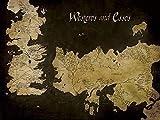 Game Of Thrones - Westeros And Essos Antik Landkarte Bereit Gerahmt Leinwand - 60 X 80 X 3.8cm (24 X 32 X 1.5 Zoll) - mit Klammern und Rahmer Schnur