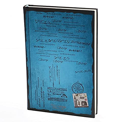 KING DO WAY Vintage Timbre Carnet De Notes Fantaisie Avec 128 Pages Cahier Calepin Dessin DIY Journal Diary Notebook Bleu 20cmX14cmX2cm