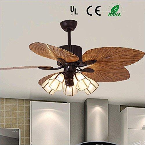 Gaoli fan lampadario moderno ventilatore a soffitto con 5 luci e27 per sala da pranzo ventilatore lampadario per sala da pranzo, studio, soggiorno, camera da letto a distanza 48 ''