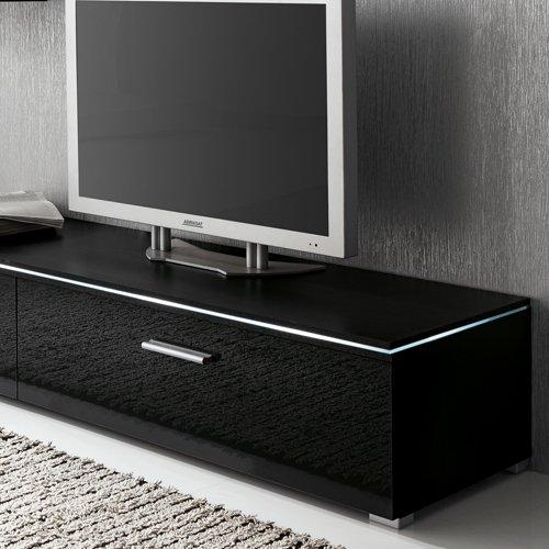 Anbauwand 3-tlg. in Hochglanz schwarz, TV-Element, Hängevitrine, Glasbodenpaneel, Mindestbreite: ca. 180 cm, Tiefe: ca. 40 cm - 4