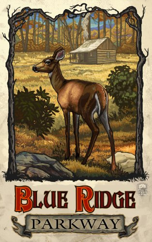 Northwest Art Mall Blue Ridge Parkway Deer and Cabin North Carolina Wandschmuck von Paul A Lanquist, 28 x 43 cm