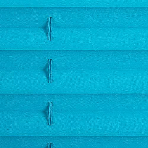 Lichtblick Plissee Klemmfix, 90 cm x 130 cm (B x L) in Blau, ohne Bohren, Sicht- und Sonnenschutz, lichtdurchlässig & blickdicht