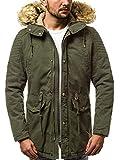 OZONEE Herren Winterjacke Parka Jacke Kapuzenjacke Wärmejacke Wintermantel Coat Wärmemantel Warm Modern Camouflage Täglichen 777/467K GRÜN XL