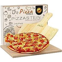 Brot-Backstein Set inkl Gasgrill und Backofen Pizzaheber Flammkuchen und Brot backen Eckig 1,5 cm Pizza Tools/® Pizzastein Hochwertiger Schamottstein f/ür Grill Ideal zum Pizza