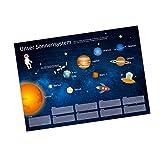 nikima - Kinder Lernposter Sonnensystem Planeten Plakat für Kindergarten Schule Schulanfang Schuleintritt Einschulung Kinderzimmer Deko Wandbild Größe - Größe DIN A2-594 x 420 mm