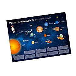 nikima - Kinder Lernposter Sonnensystem DEUTSCH Planeten Plakat für Kindergarten Schule Schulanfang Schuleintritt Einschulung Kinderzimmer Deko Wandbild Größe - Größe DIN A2-594 x 420 mm