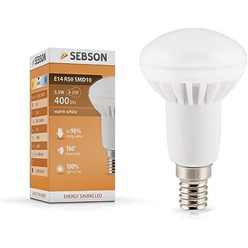 SEBSON LED Lampe E14 R50 6W (5.5W), ersetzt 40W Glühlampe, warmweiß ...