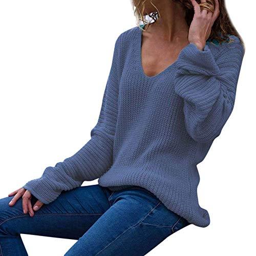 FuweiEncore Pullover Sweater Damen Sweatshirt, Bluse Frauen Mode Lässige Langarm Strickpullover V-Ausschnitt Twisted Back T-Shirt Langarmshirts Jumper (Farbe : Blau, Größe : S)