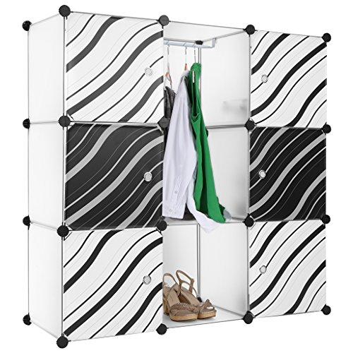 LANGRIA Regalsystem Stufenregal 9-Kubus Lagerregal Kleiderschrank Garderobenschrank mit Transluzenten Zebra Striped Türen Design für Kleidung, Schuhe, Spielzeug und Bücher