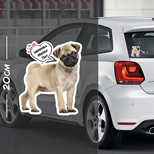 Hunde Aufkleber Motiv #4   Druck & Cut mit oder ohne Laminat   Individuell mit Wunschtext (4-laminat)