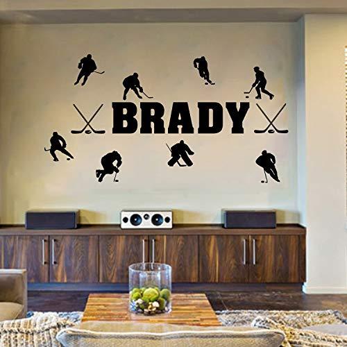 Hockey su ghiaccio personalizzato si nome decalcomania della parete in vinile per bambini decorazione della stanza ragazzi camere fai da te arte murale adesivi murali rimovibili 84 * 158 cm