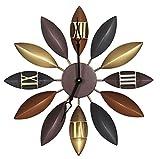 WERLM Persönlichkeit Design Home Decor Wall Clock Clock Retro Kunst Wanduhren kreative Uhren Industrie Stil mit schmiedeeisernen Wandbild Metall Wand Dekor Wohnzimmer Mute Ideal für Home Küche Büro Schule jeden Raum, 20 Zoll, Gold 71 CM