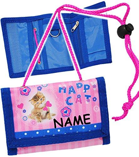 """Geldbörse - """" Happy Cat - glückliche Katze """" - incl. Name - Geldbeutel & Portemonnaie für Kinder - Geld - Mädchen - mit Folie z.B. für Buskarte / Busfahrkarte - Kindergeldtasche - Geldtasche / Brustbeutel - zum Umhängen - Geldtasche Geld - Tier Miezekatze - Kindergeldbörse - Haustiere rosa pink / Blumen & Blüten - Kätzchen Katzen - Mädchenportemonnaie"""