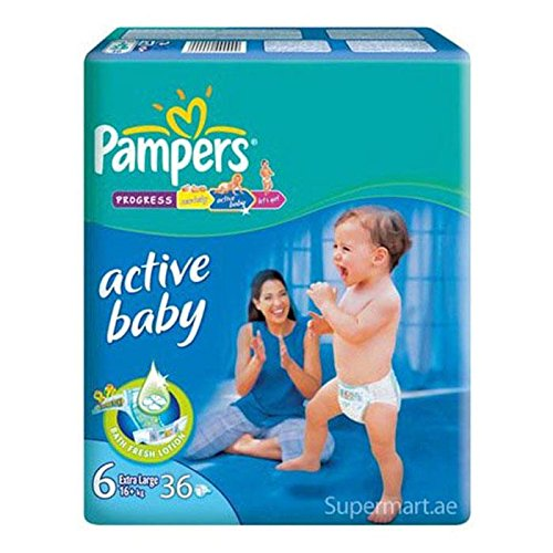 PAMPERS ACTIVE BABY DIAPERS (6) - LXXL - 36 (16KG) (UAE)