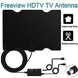 EasyULT Antenne TV HD[Version Améliorée],TV ante Antenne TV DVB-T 60Mile / 95KM Antenne intérieure HDTV numérique avec amplificateur de signal détachable et câble coaxial long 5M/16.5FT, support VHF / UHF / FM[Noir,Surface lisse]