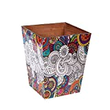 #10: Scrafts Cream Floral Print Wooden Magazine Cum Newspaper Holder/Wooden Dustbin/Decorative Dust Bin/Waste basket/Multi-Function Storage Organizer/Trash Can for Office, Home, Bedroom - Keep Your Home Clean/Size: LBH(Inches)=9x7x11