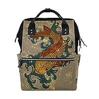 BKEOY Backpack Nappy Bag Koi Carp Fish Japan Diaper Bag Multifunction Travel Daypack for Mommy Mom Dad Unisex