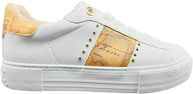 ALVIERO MARTINI Sneakers da Donna Colore Bianco/Geo Beige con Borchie Dorate N08800208X013