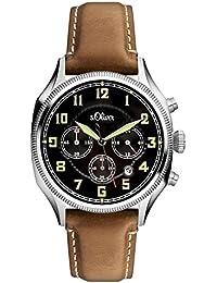 s.Oliver Herren-Armbanduhr Chronograph Quarz Leder SO-3180-LC