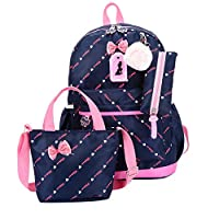 Three-Piece School Bag for Kids Girls Cute Waterproof Bowknot Shoulder Bag +Casual Travel Backpack+Tote Bag