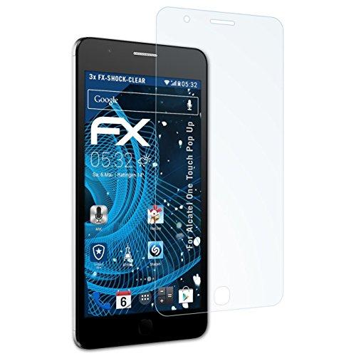 atFolix Schutzfolie kompatibel mit Alcatel One Touch Pop Up Panzerfolie, ultraklare & stoßdämpfende FX Folie (3X)