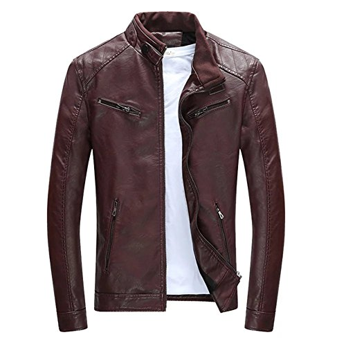 Herren Lederjacke Mens PU Leder Jacken BiSHE Slim Smart Fit Fleece Harrington Jacke Mantel (Dunkelrot UK L) (Jacke Leder Mantel Mäntel Trench)