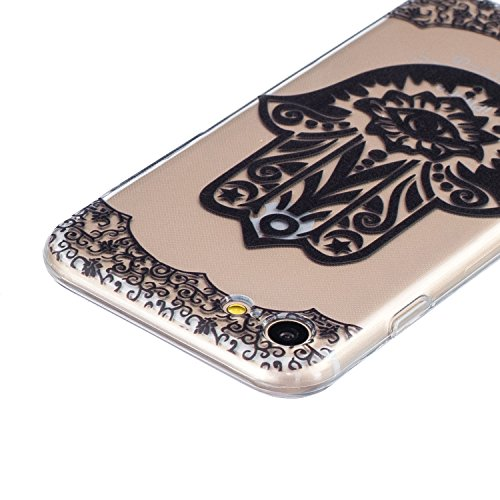 iPhone 7 Hülle,SainCat iPhone 7 Silikon Hülle Tasche Handyhülle Weiß Retro Muster [Elephant] Schutzhülle Transparent TPU Gel Case Bumper Weiche Crystal Kirstall Clear Silikonhülle Durchsichtig Handy G Schwarz-Palm Blume